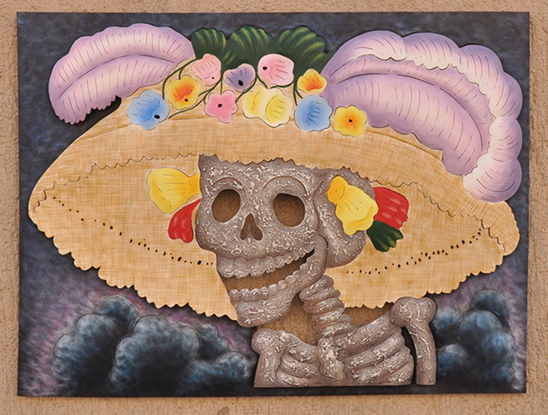 Catrina the Flirt Steel wall art Handcrafted Artisan made Fair Trade Mexico Day of the Dead