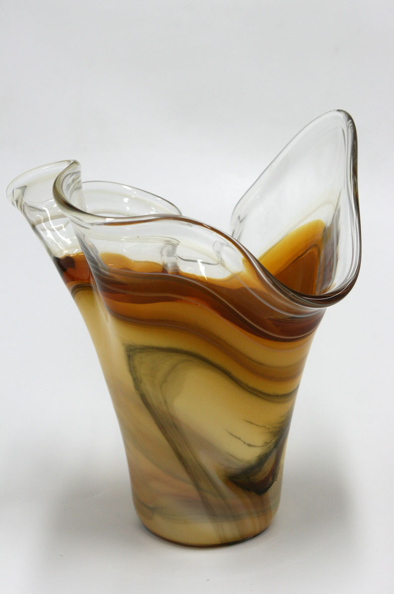 Amber Fan Handblown art glass vase Browns Murano Inspired Blown Glass
