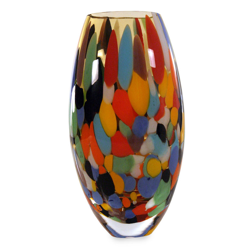 Carnival Confetti Murano Inspired Blown Glass Vase