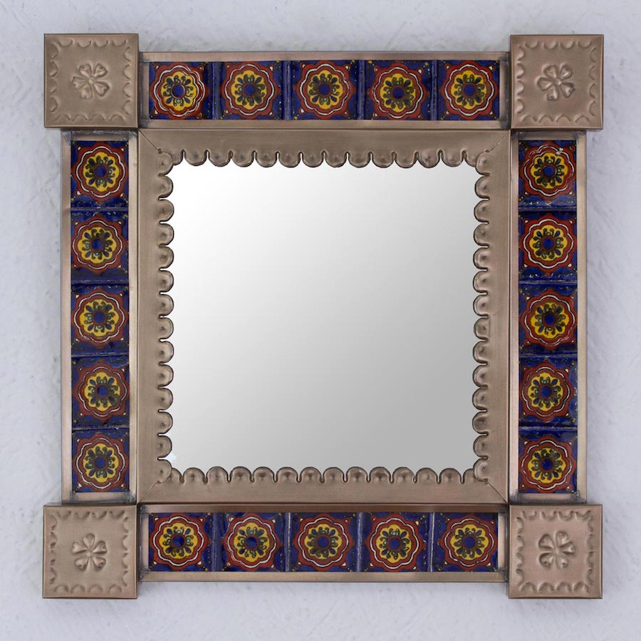 Ceramic and Tin Square Wall Mirror from Mexico, 'Reflections and Flowers' Decorating a Small Space with Mirrors