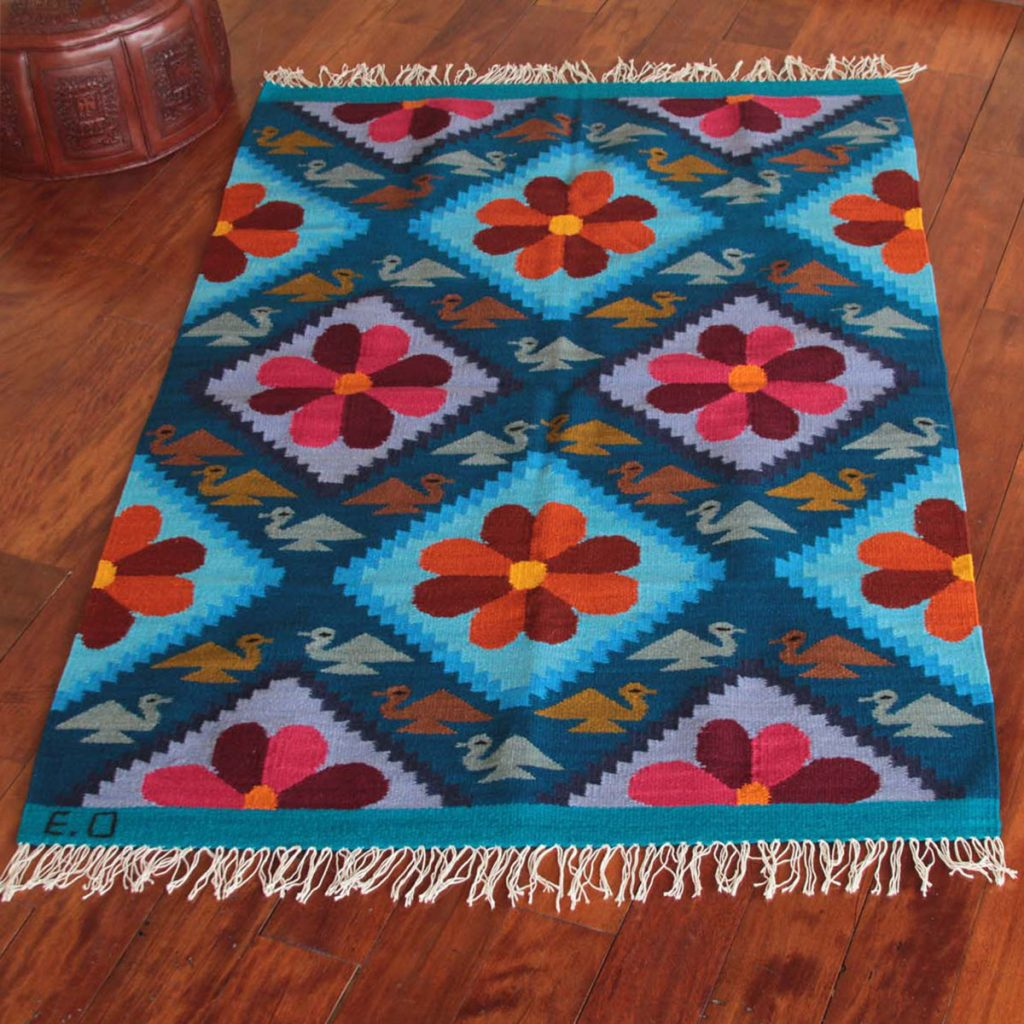 Flower of Peace Wool Rug Blue Floral Handwoven rug latin america