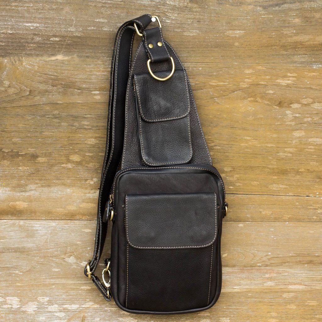 Leather cross-body sling bag Men's Travel Gifts Black Leather Cross Body Sling Bag with 3 Pockets Nighttime Hike