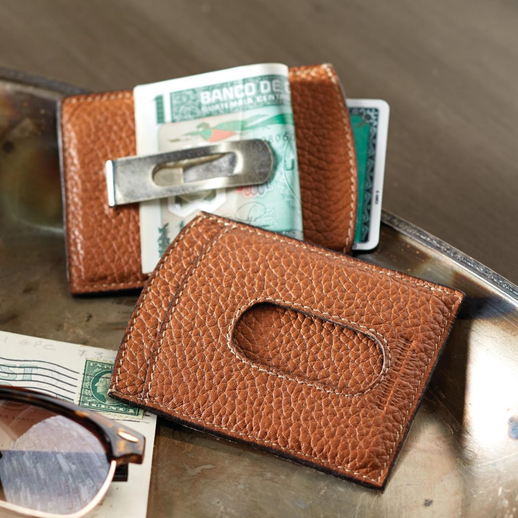 Leather Italian money clip tan light brown Men's Travel Gifts Savvy Traveler