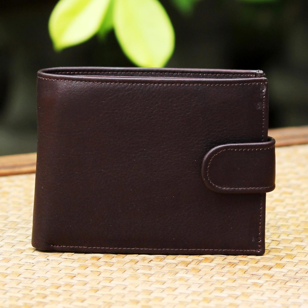 Leather wallet Men's Travel Gifts Handcrafted Leather Wallet in Espresso from Thailand Everyday Traveler in Espresso