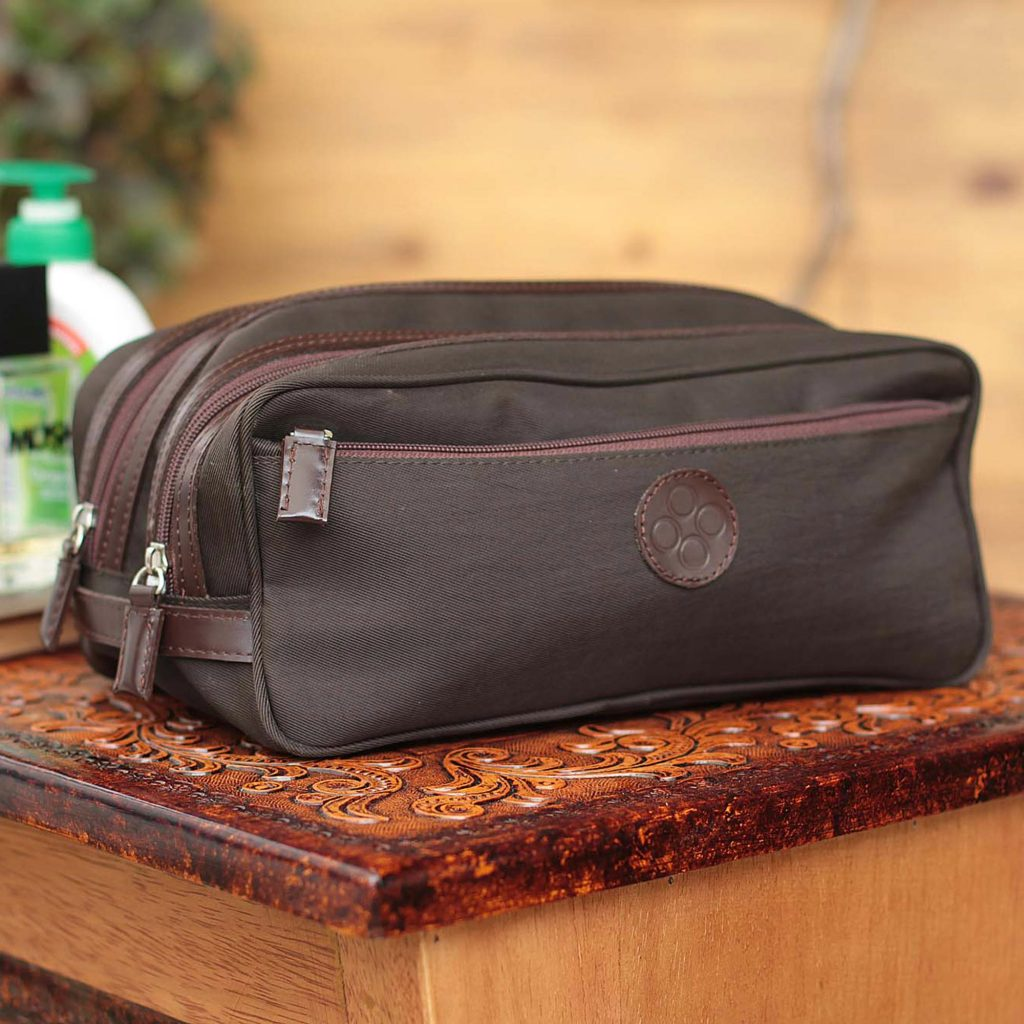 Men's leather accent cotton blend travel case Andean Brown Men's Travel Gifts Fair Trade Men's Travel Toiletry Bag from Peru