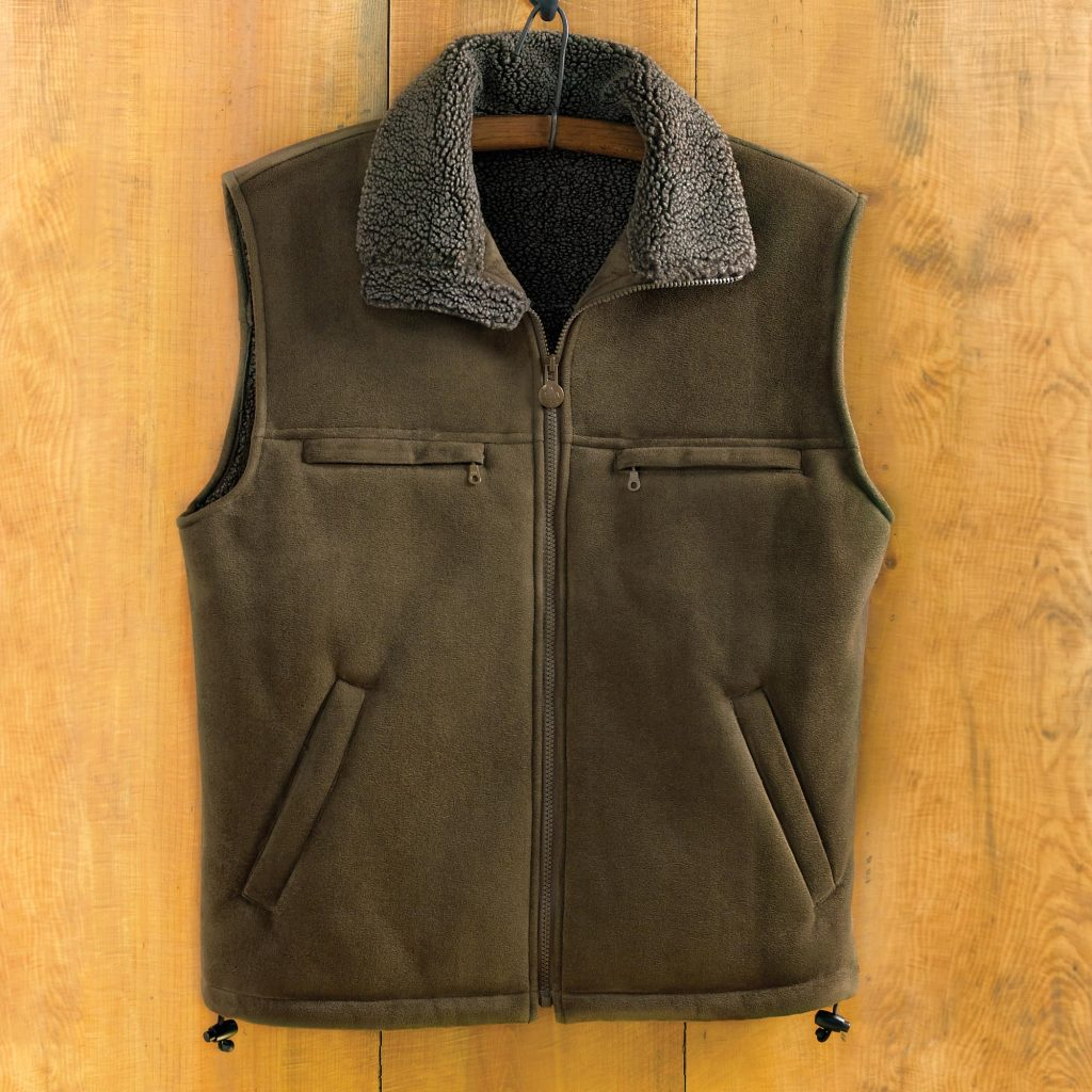 Men's green micro-suede vest Men's Travel Gifts Highland Traveler collar zipper