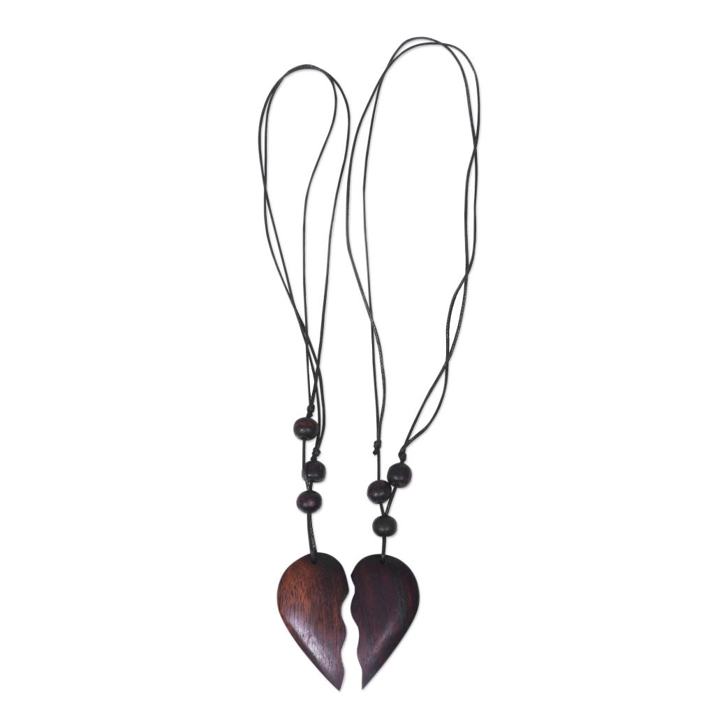 Wood Pendant Necklace My Heart is Yours Romantic Sono Wood Heart Pendant Necklace Pair from Bali Men's Travel Gifts