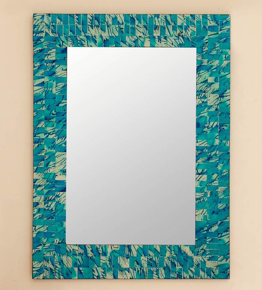 Mosaic Glass Squares 'Silver Beach' Hand Crafted Wall Mirror India Decorating a small Space with mirrors