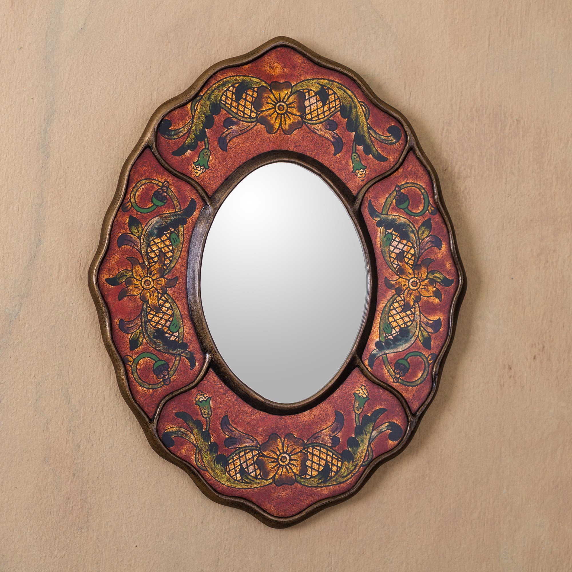 Vintage Style Reverse Painted Glass Wall Mirror hand crafted Peru, 'Red Colonial Wreath' Decorating a small space with mirrors
