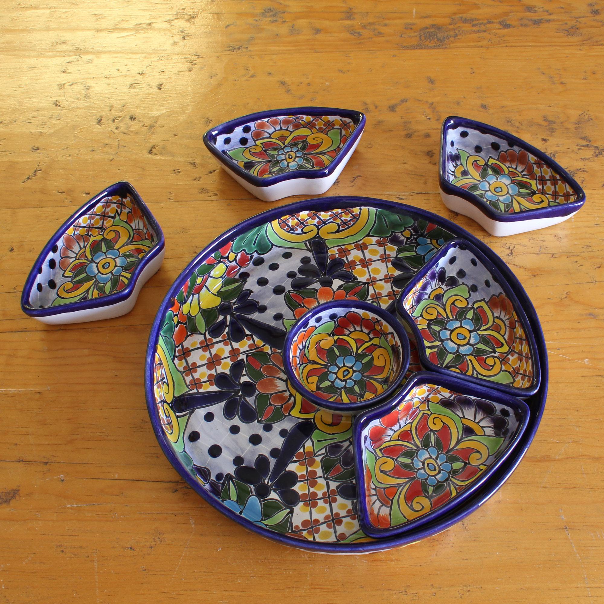 'Festive Feast' Fair Trade Mexican Talavera Ceramic Canape Platter Hostess Gift