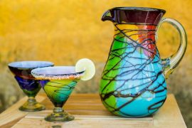 Mexican Multicolored Blown Glass 8 oz Martini Glasses
