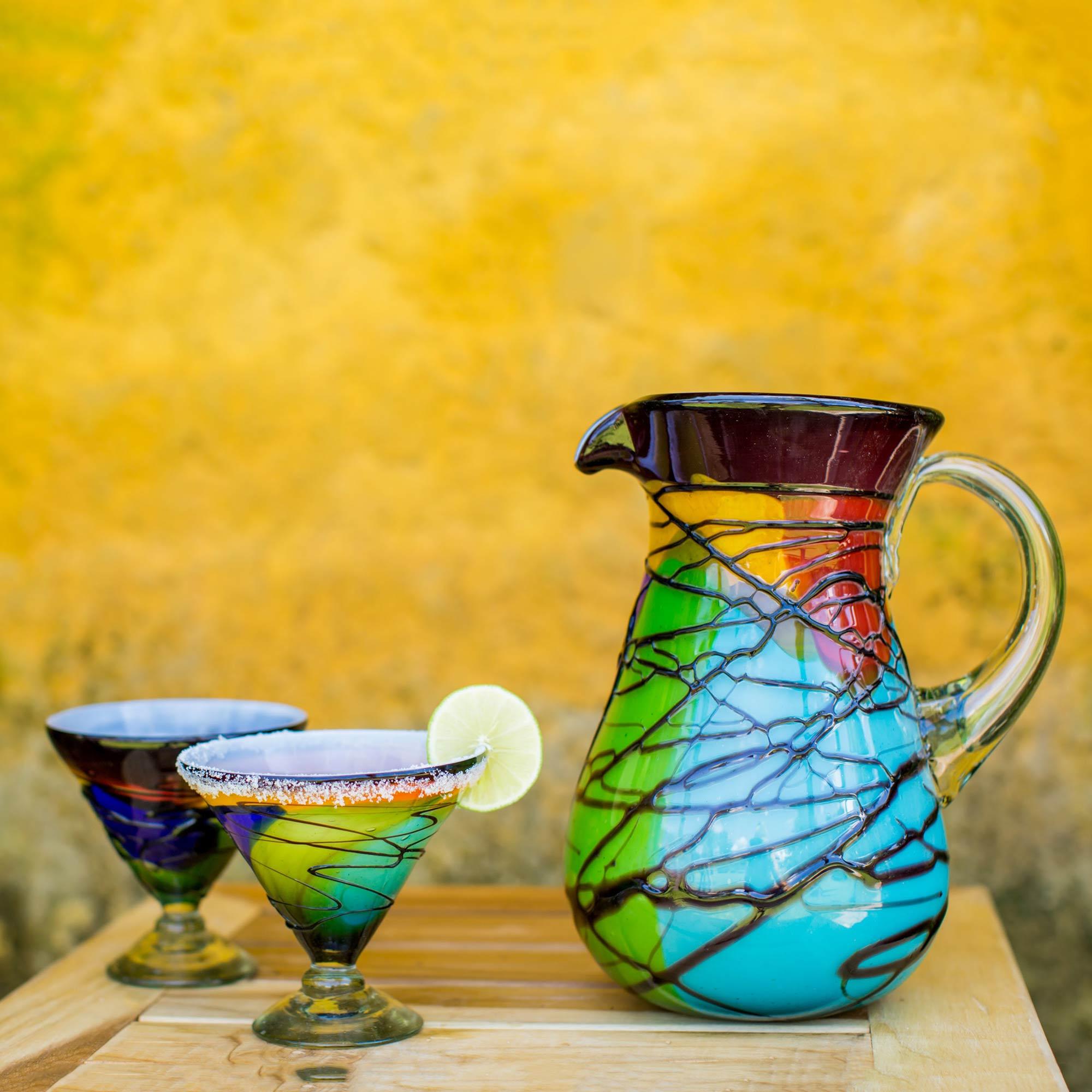 Vizz Mexican Multicolored Blown Glass 8 oz Martini Glasses Fair Trade Hostess Gift