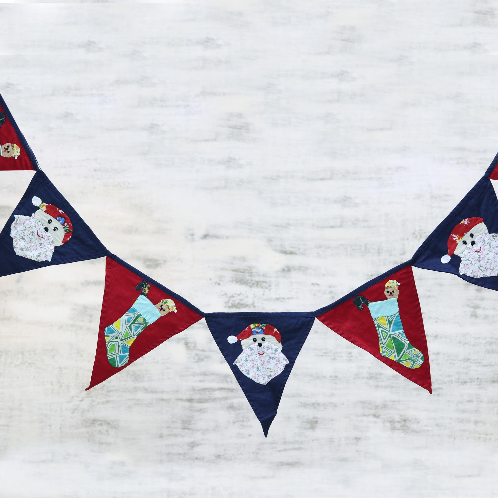 Festive Christmas Red and Navy Cotton Christmas Bunting from India artisan hand crafted Unique Holiday Decor Treasures