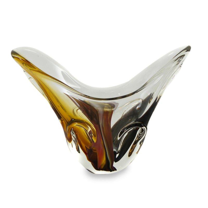 Murano-Inspired Hand Blown Art Glass Vase from Brazil Murano Inspired Blown Glass