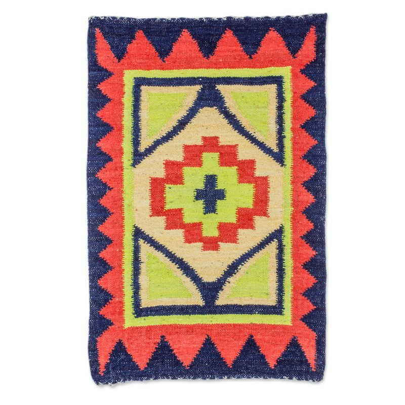 Guatemalan Hand Woven Wool Area Rug in Poppy and Midnight fiery star handwoven rugs latin america