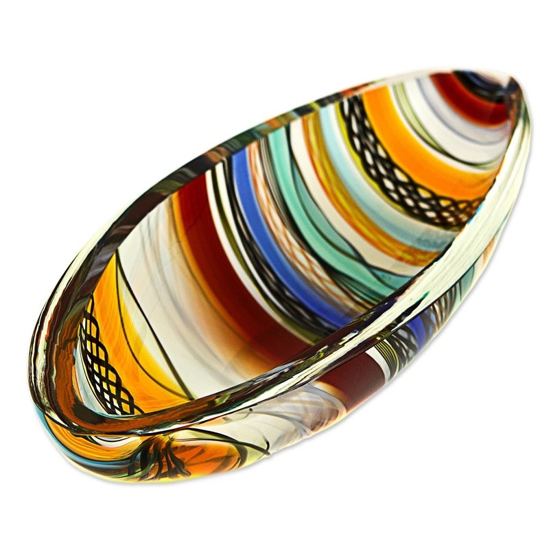 Artisan Crafted Handblown Colorful Art Glass Centerpiece Murano Inspired Blown Glass