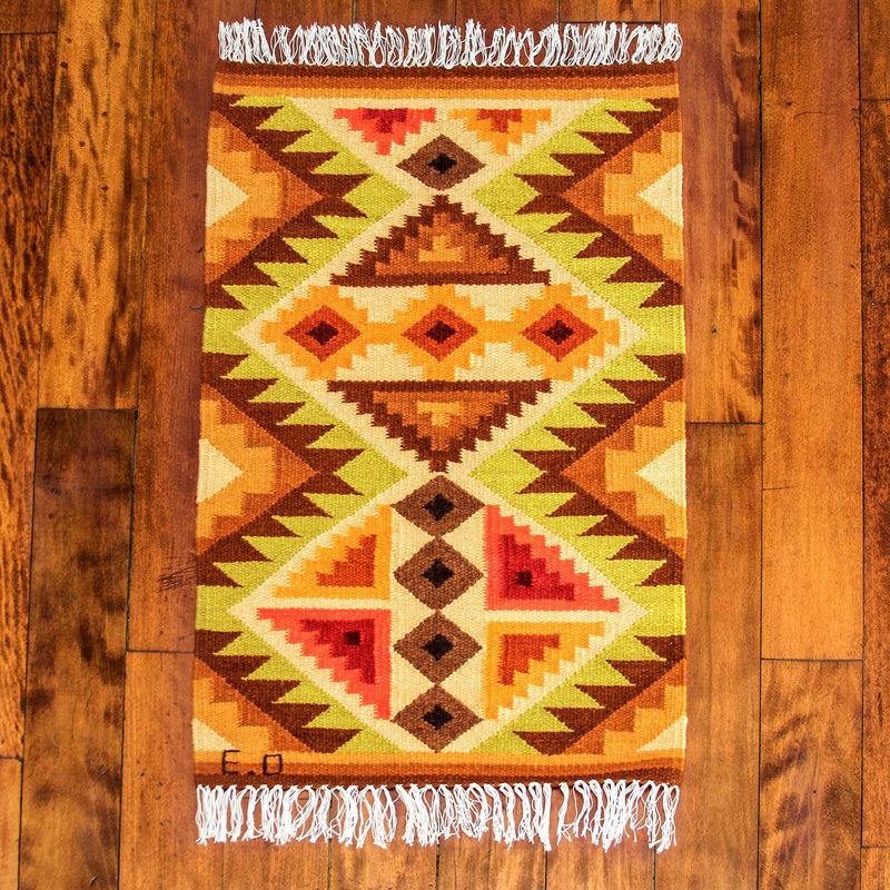 Yellow Geometric Handwoven Andean Wool Rug (2 x 3) Splendid Inca handwoven rugs latin america