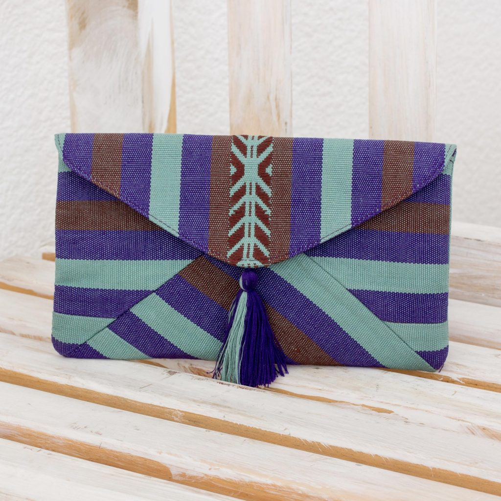 Quiet Paths Hand-woven Cotton Clutch Bag from Guatemala Backstrap loom Purple Brown Handbags: Selecting The Perfect Style For Every Season