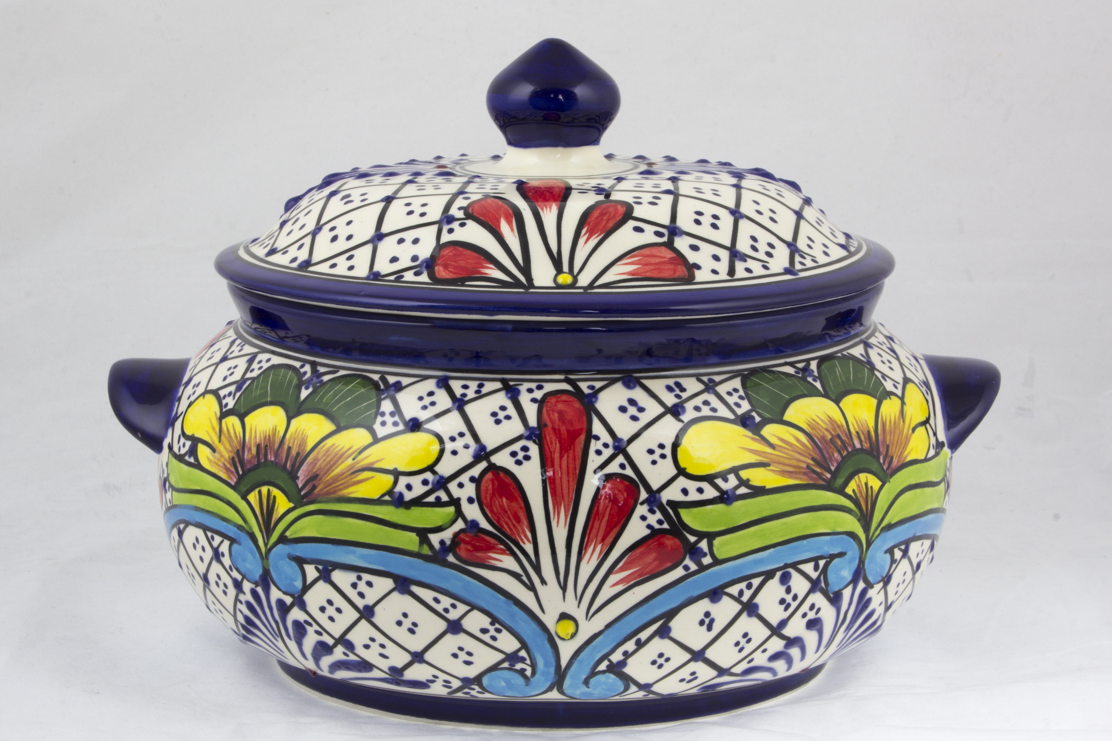 Floral Joy Talavera-Inspired Mexican Covered Ceramic Serving Bowl We