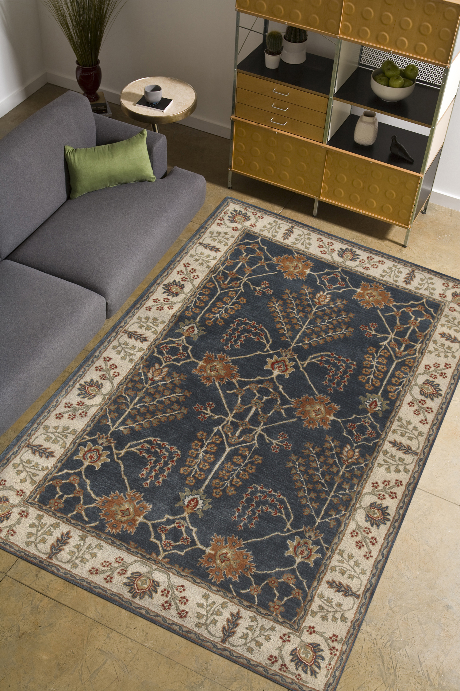 Area rug, home decoration Bluebell Spires Hand-Tufted 100% Wool Area Rug in Blues and Ivory Memorable gifts