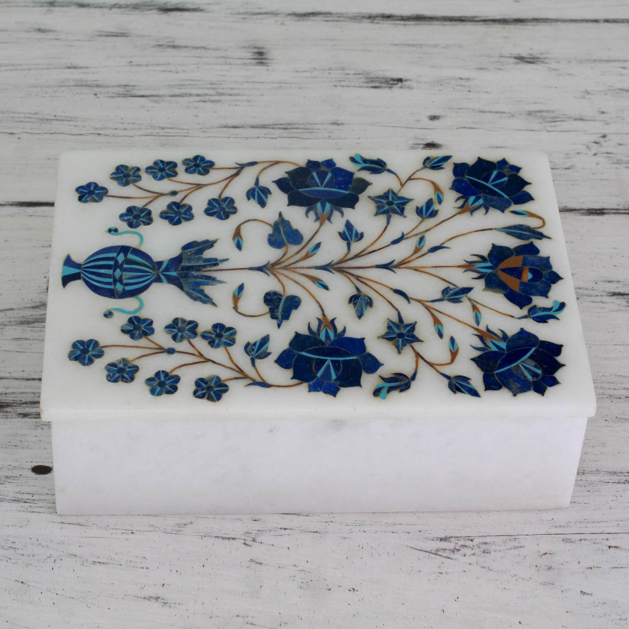 Jewelry box, decorative box Royal Bouquet Handcrafted Marble Inlay Jewelry Box Memorable Gifts