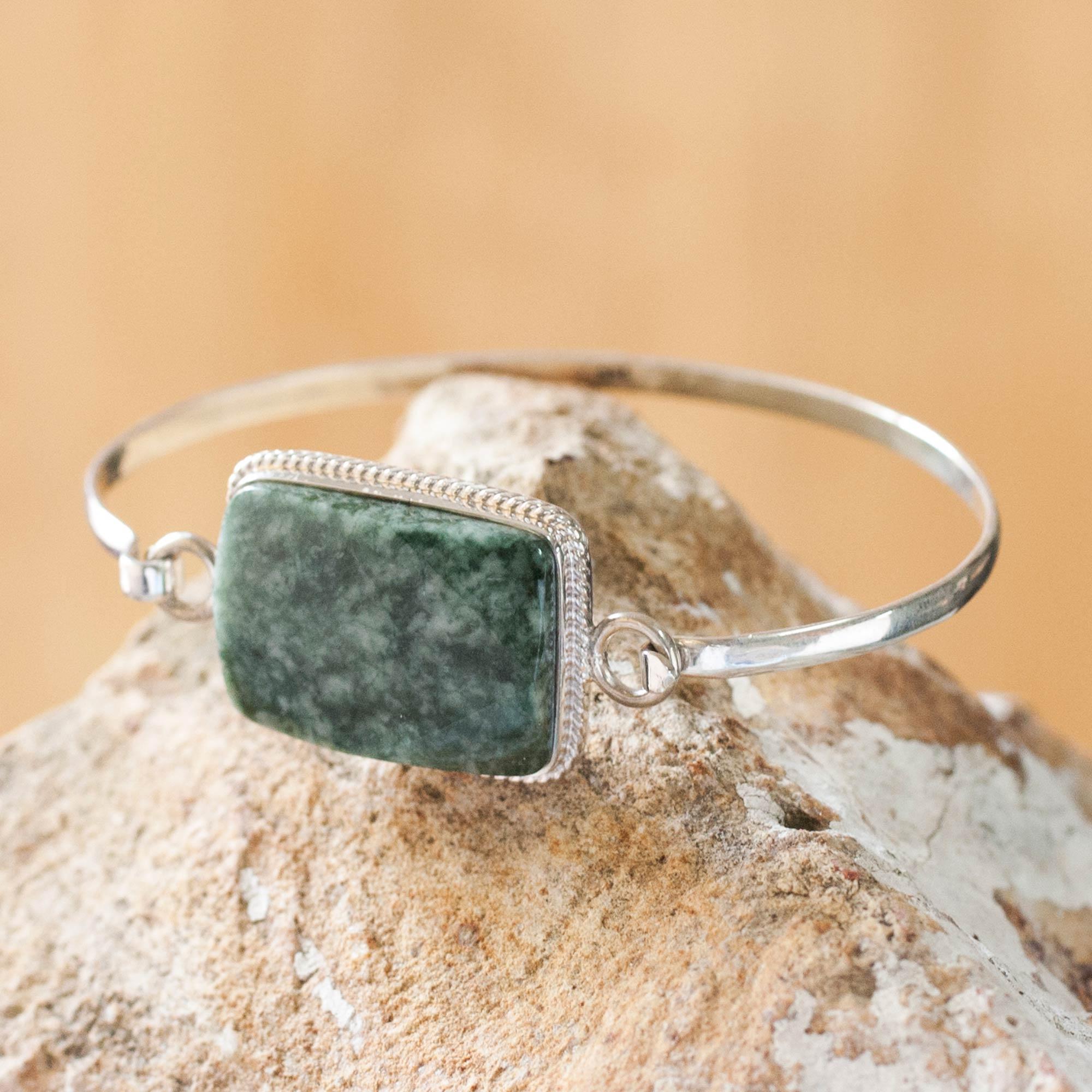 sterling silver, bracelet, silver bracelet Mixco Modern Jade bangle bracelet sterling silver memorable gift