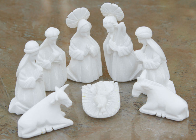 White Christmas Stone nativity scene (Set of 8) hand carved alabaster spiritual christmas unique holiday decor treasures