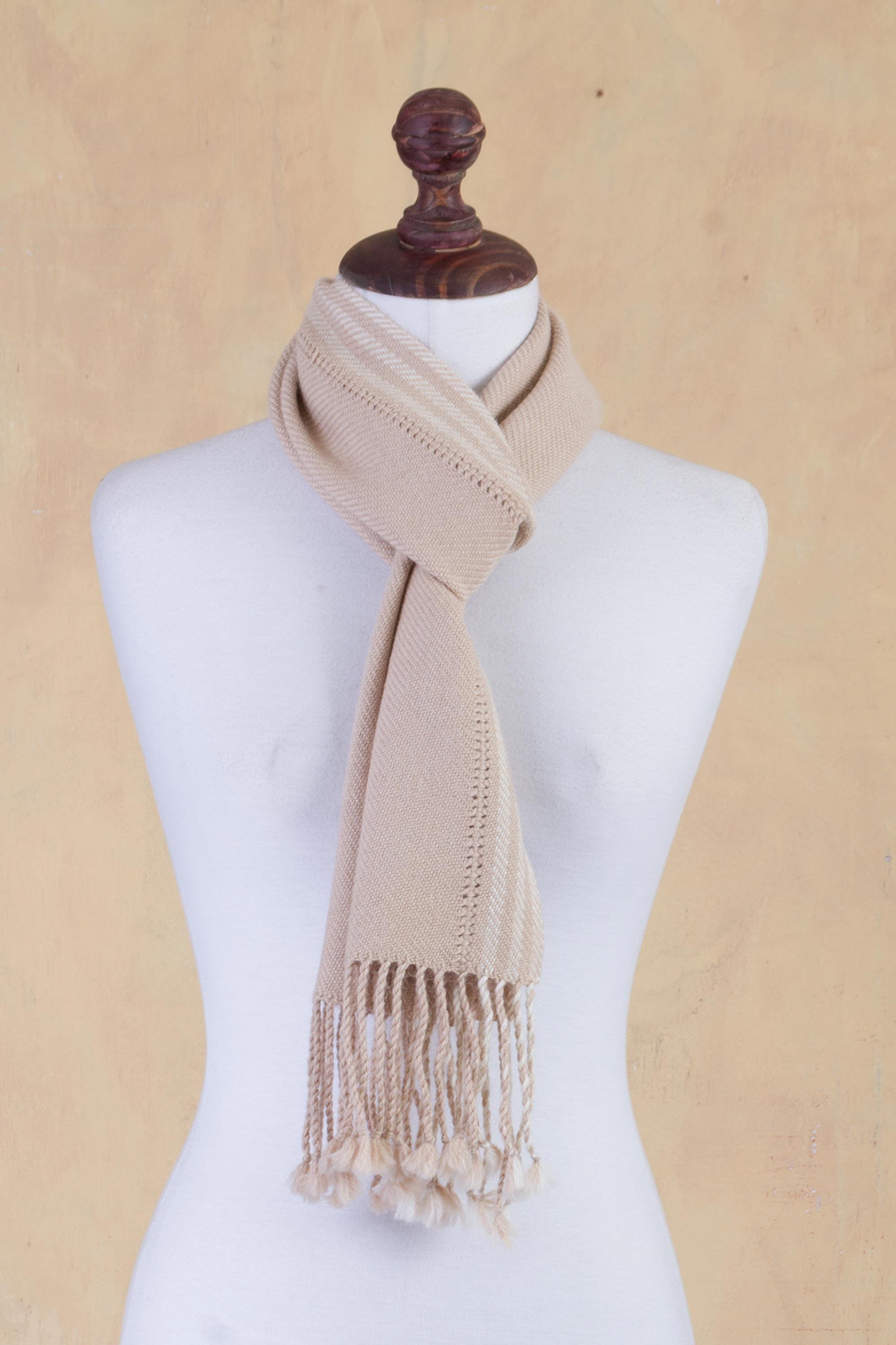 Tan Timeless in Beige 100% Alpaca Backstrap Loomed Scarf in Beige the Shawl and Scarf