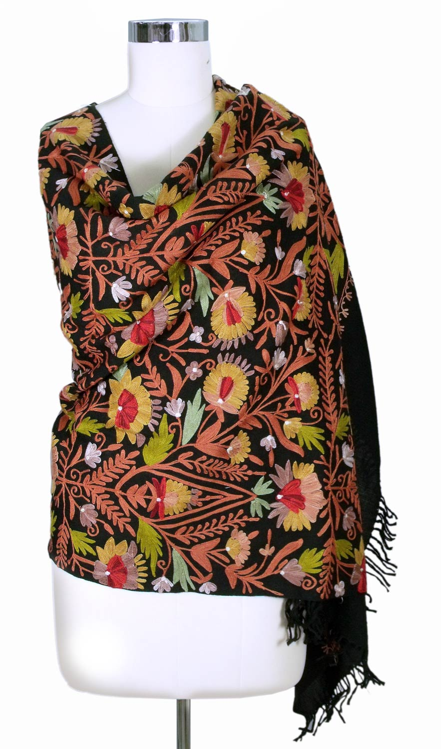 Wild Gardens Artisan Crafted Floral Wool Embroidered Shawl the shawl and scarf