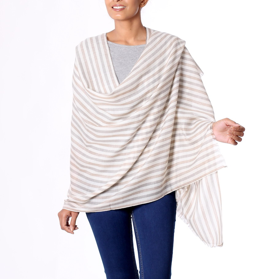 Subtle Warmth Taupe and Ivory Striped Wool Shawl from India How to fly in style and comfort