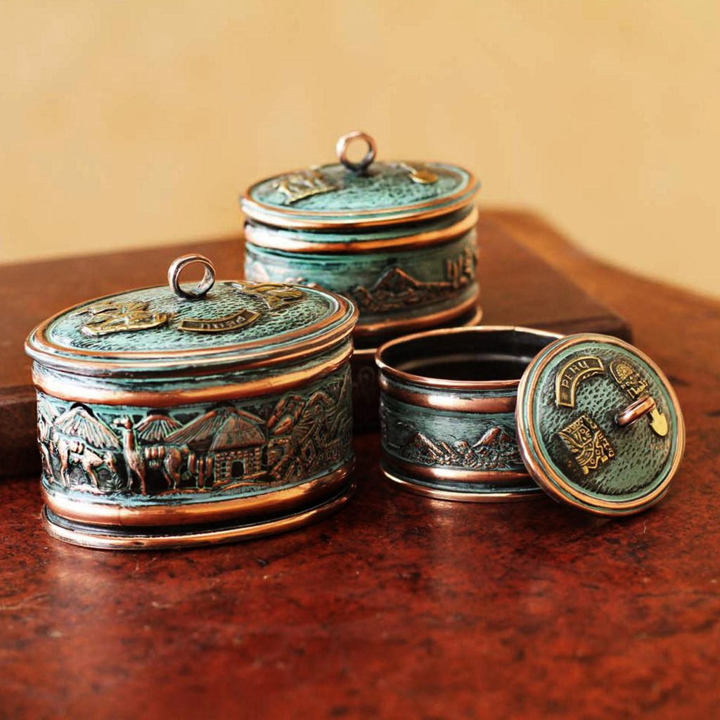 Andean Life Artisan Crafted Copper and Bronze Decorative Boxes Set of 3 Wedding Gifts Galore