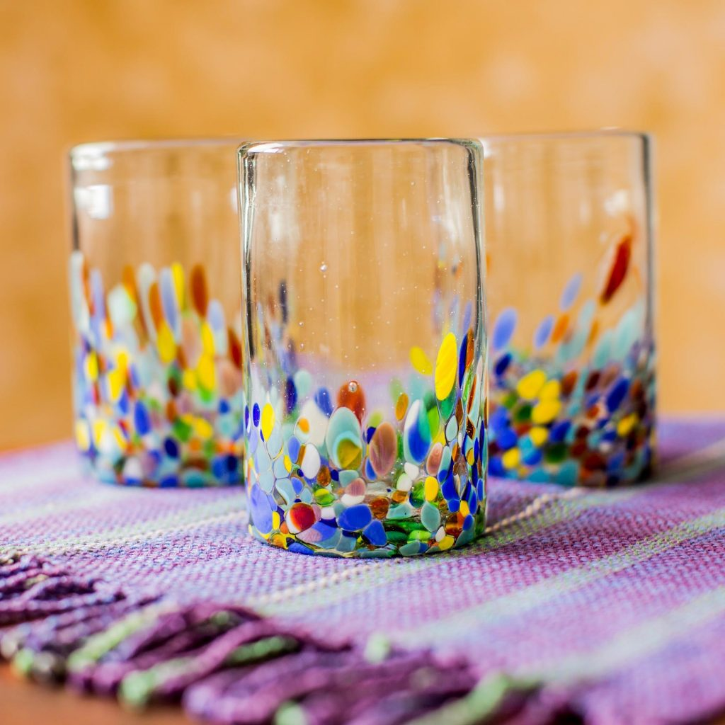 Confetti Handblown Recycled Glass Tumbler Drinkware wedding gifts galore