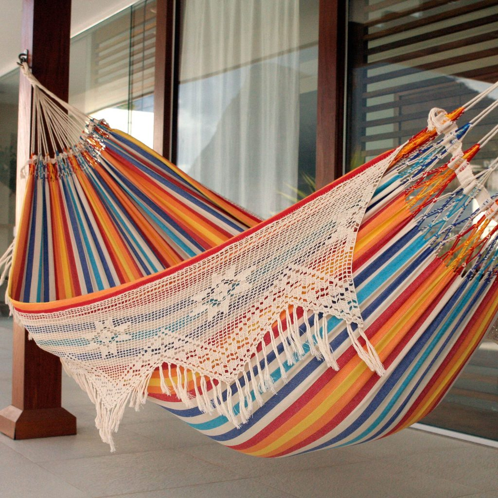Festive Brazil Artisan Crafted Cotton Striped Hammock (Double) Wedding Gifts Galore