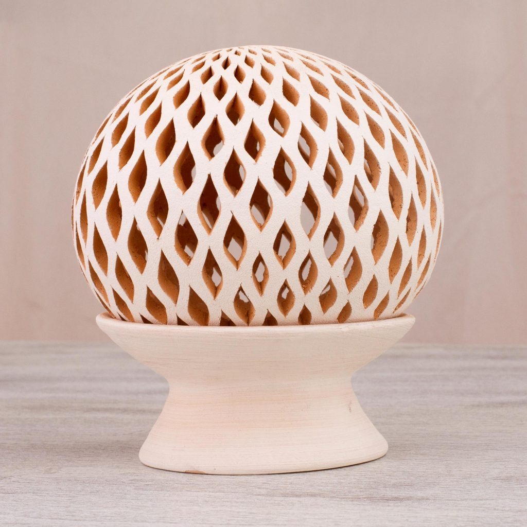 Glowing Rain Handcrafted Beige Ceramic Candle Holder from Mexico lamps and lighting