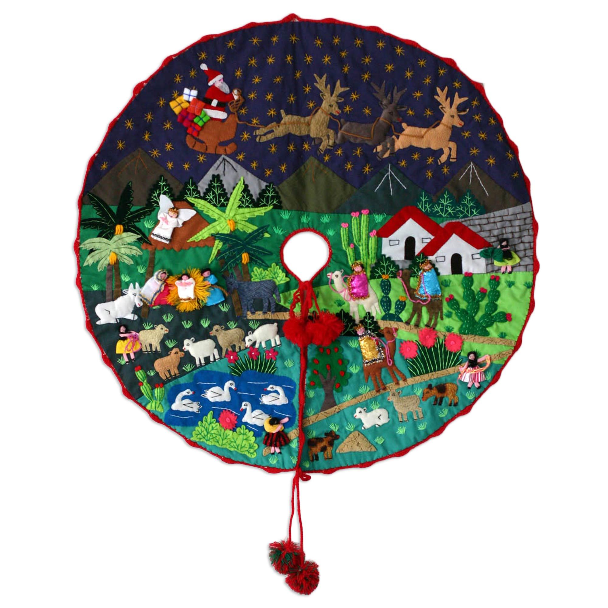 Nativity Scene Peruvian Folk Art Cotton Christmas Scene Tree Skirt Unique Holiday Decor Treasures