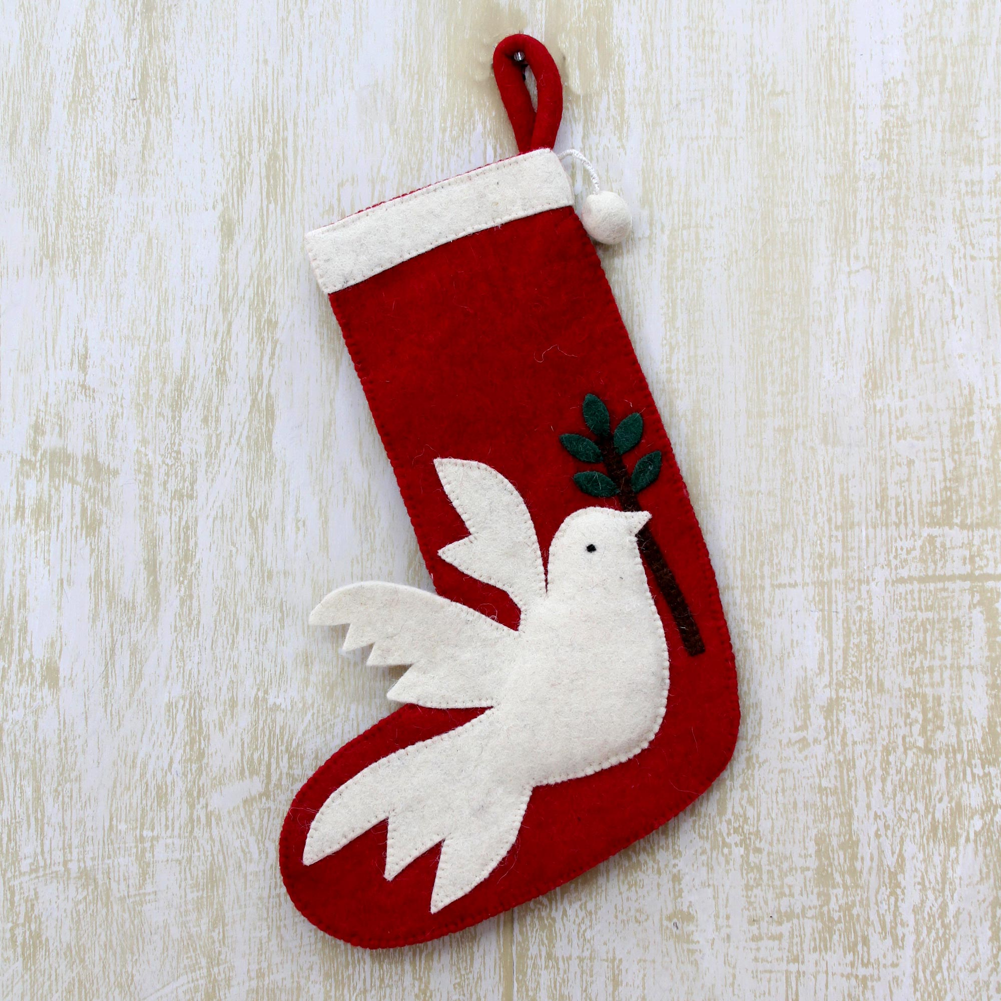 Peaceful Dove Artisan hand crafted Peace Themed Red Holiday Stocking with Dove Motif Unique Holiday decor treasures