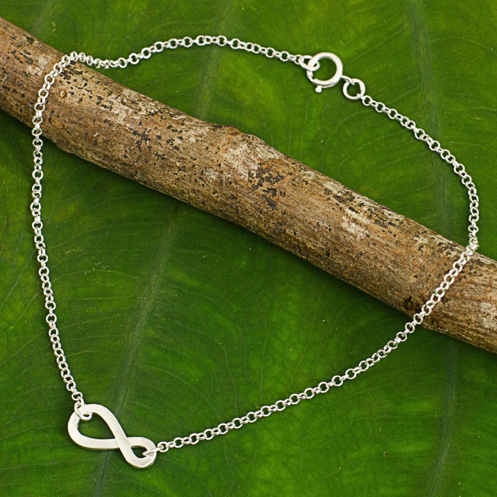 Infinity Symbol Thai Artisan Crafted Sterling Silver Anklet Holiday Gifts on a Budget Gift Ideas Under $25