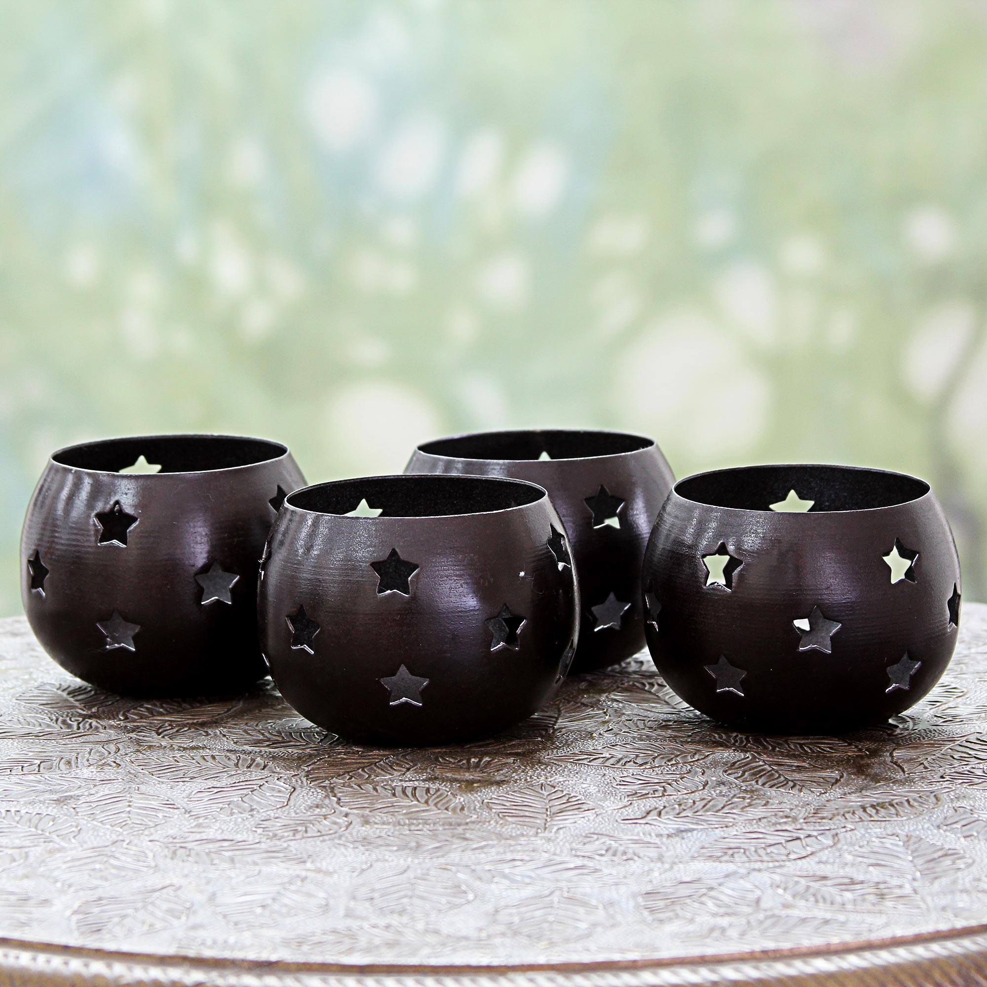 Chocolate Stars artisan hand crafted Star Motif Brown Steel Tealight Candleholders (Set of 4) unique holiday decor treasures