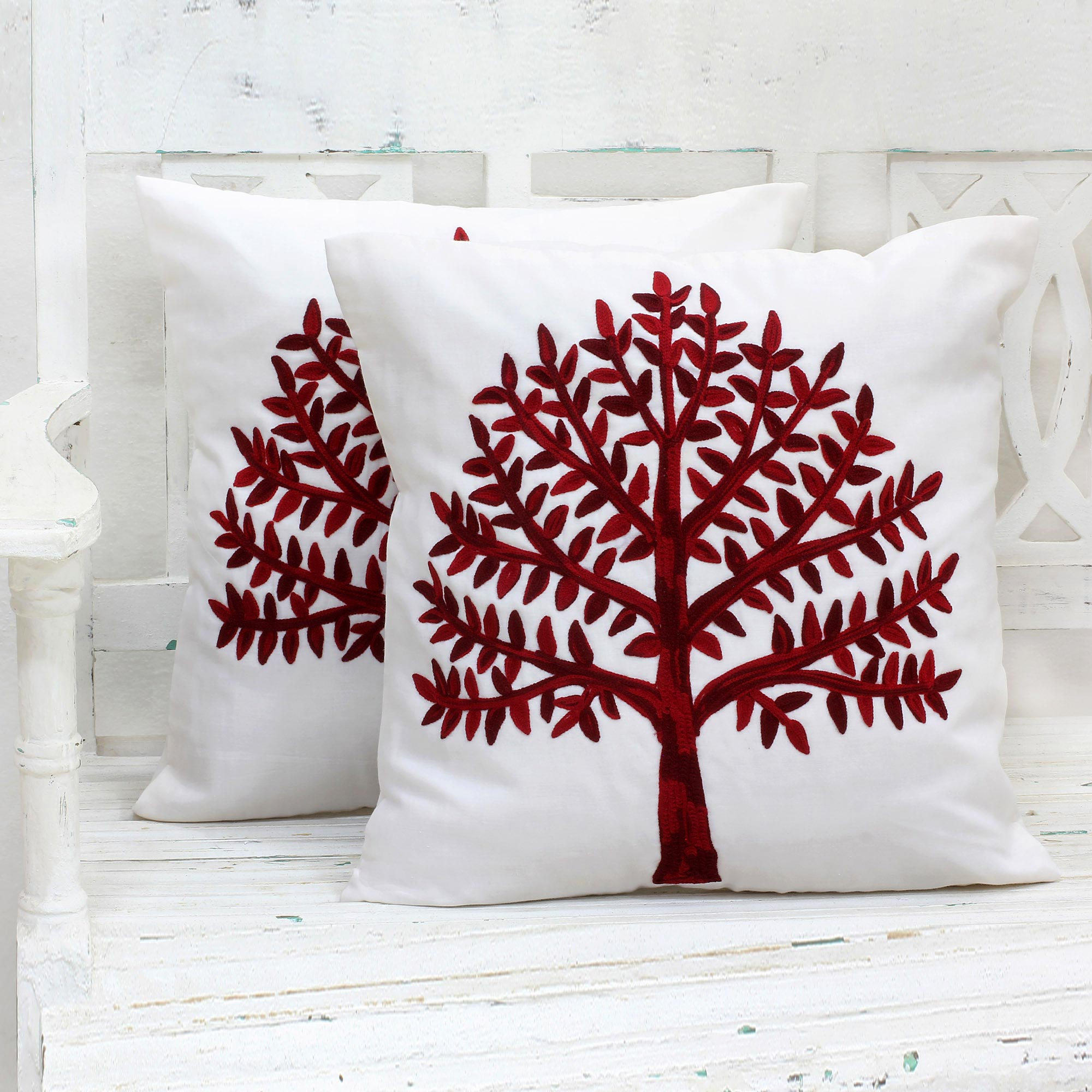 Chinar Tree artisan hand crafted Embroidered Cotton Cushion Covers Red Tree (Pair) India unique holiday decor treasures