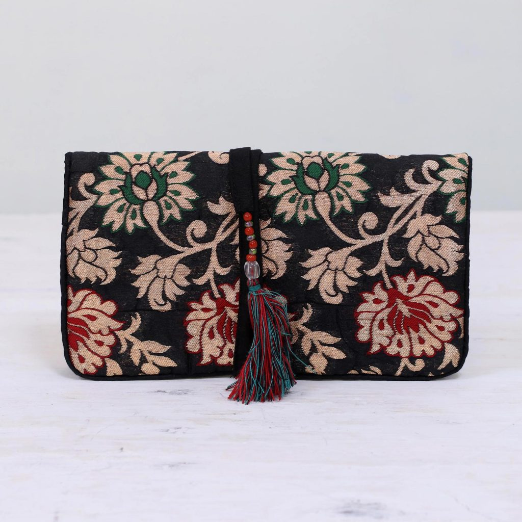 Path of Flowers Floral Jewelry Roll in Caramel and Black from India Holiday Gifts on a Budget Gift Ideas Under $25