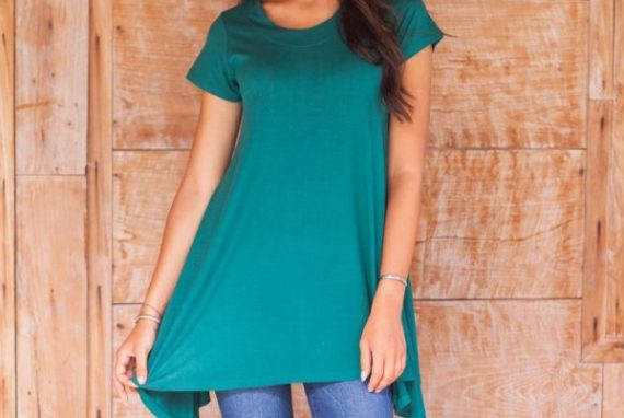 Modal Tunic with Short Sleeves and Round Neck