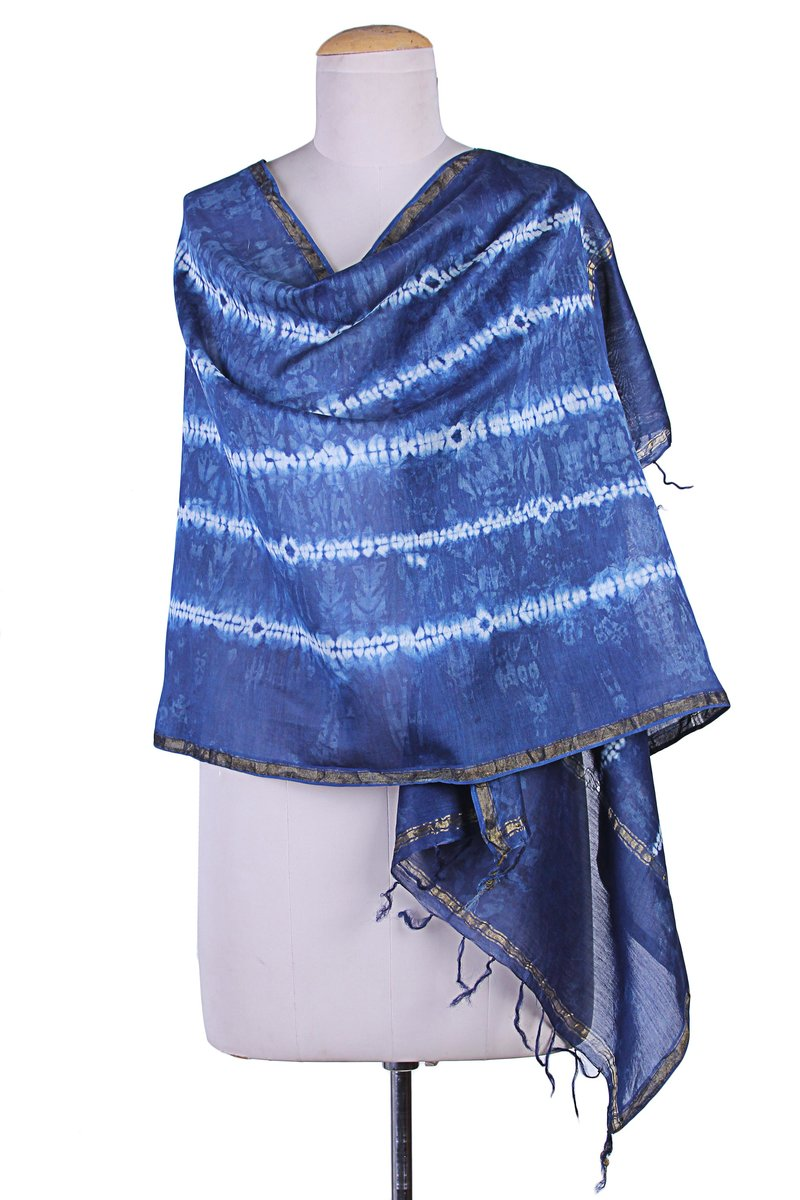Indigo Destiny Blue Striped Indian Wrap Cotton and Silk Shibori Shawl in Natural Indigo How to fly in style and comfort