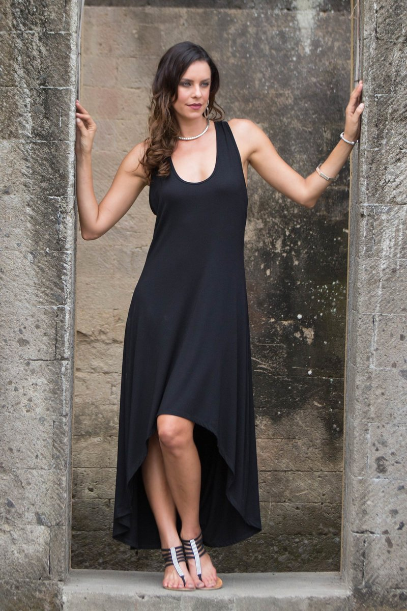 Black Frangipani Sleeveless Modal Dress with High-Low Hem How to Fly in Style and Comfort