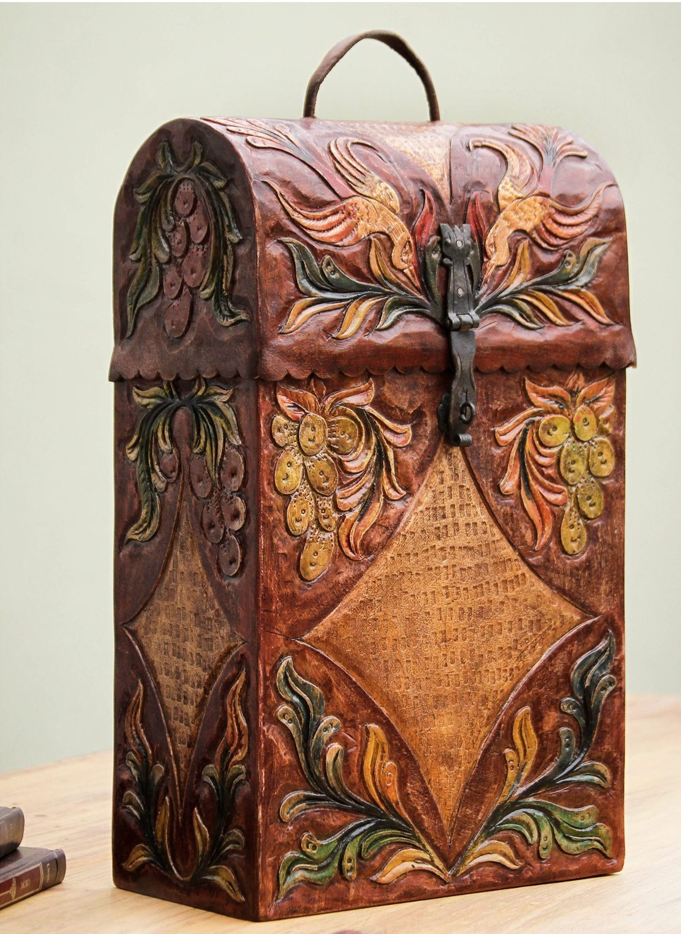 Colonial Vineyard Handcrafted Tooled Leather Wine Case Wedding Gifts Galore