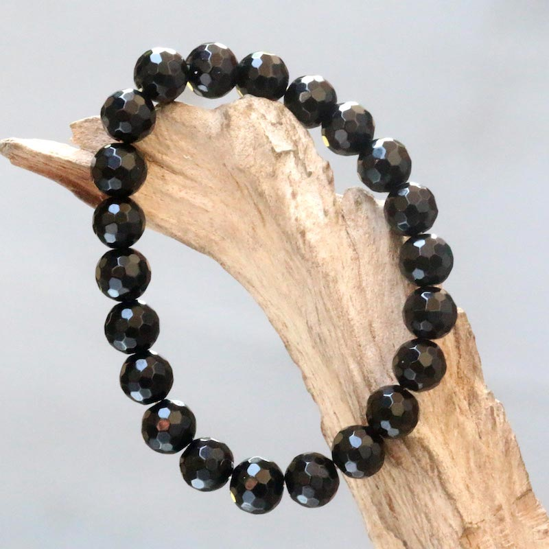 Black Lava Stretch Bracelet from Bali with Faceted Round Onyx Beads Holiday Gift Ideas on a budget