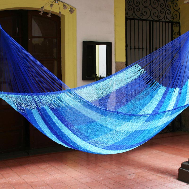 Blue Caribbean Artisan Crafted Rope Hammock (Single) Last minute gift