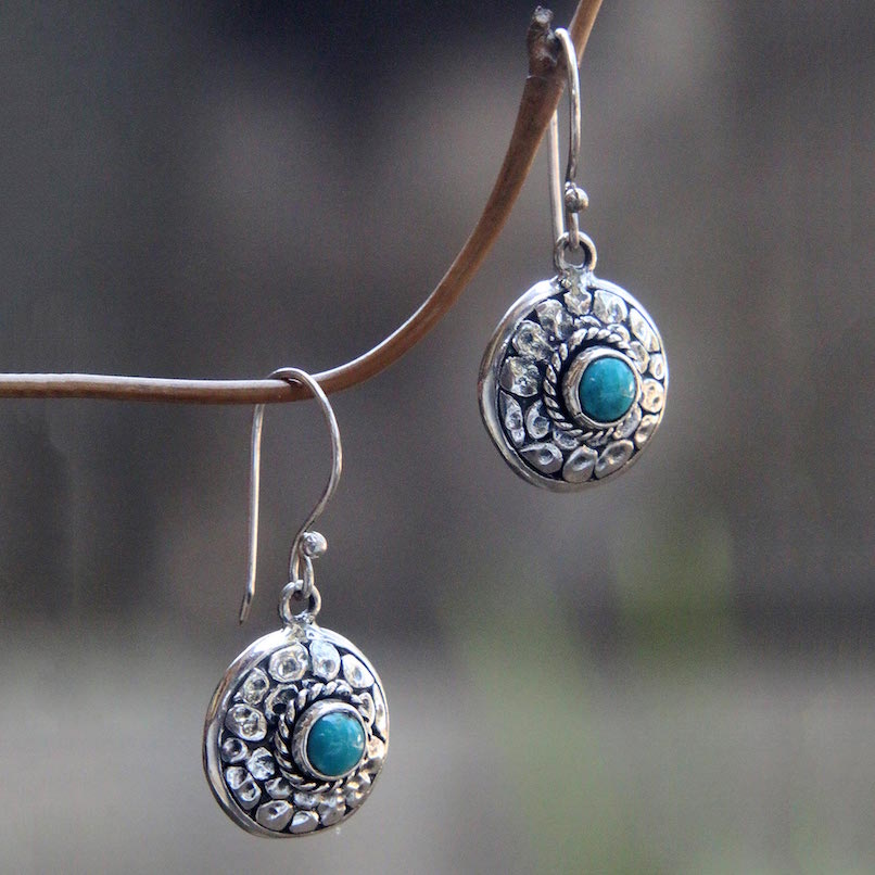 Blue Medallion Hand Crafted Turquoise and Sterling Silver Dangle Earrings, turquoise, turquoise earrings, birthstone earrings, jewelry, medallion earrings Turquoise - December's Birthstone