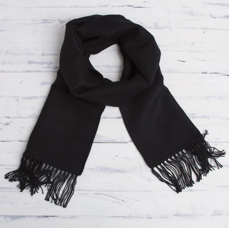 Ebony Gift of Warmth Woven Alpaca Blend Scarf for Men in Solid Black scarf, alpaca, men's scarf, budget gift, gifts for men Holiday Gift Ideas on a Budget