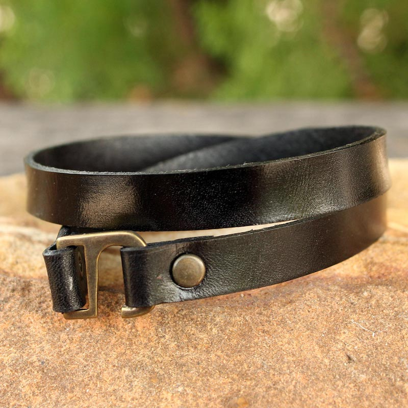 Enigma in Black Men's Artisan Crafted Modern Leather Wrap Bracelet perfect Gift Ideas under $25