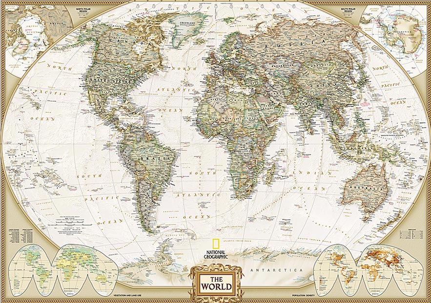 Last minute gift Executive Large World Wall Map Mural in Earth Tones